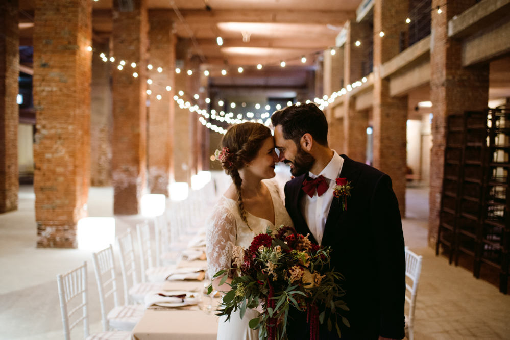 Industrial wedding in a factory
