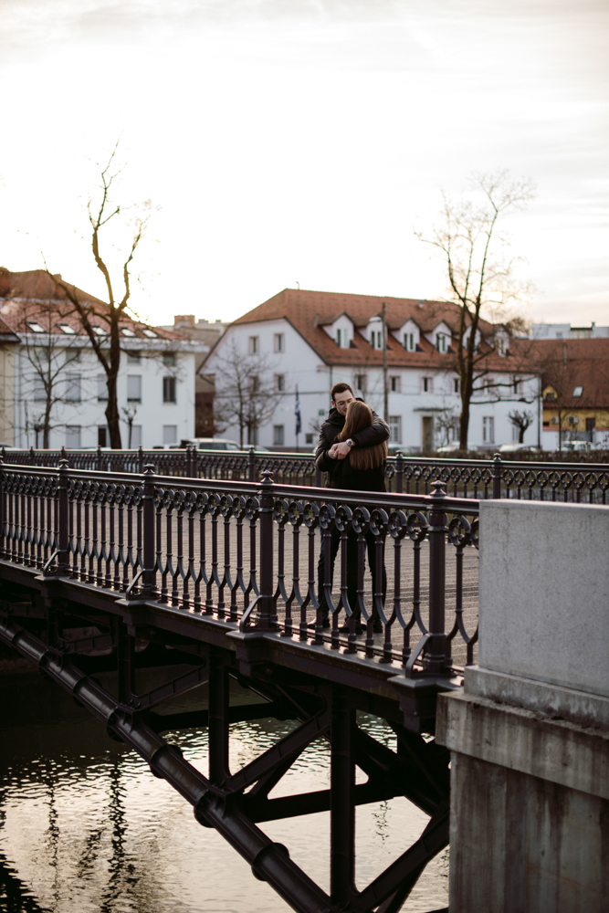 engagement session at sunrise in ljubljana